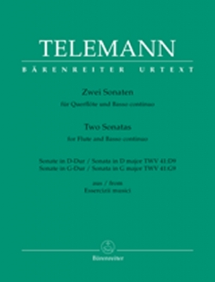 Telemann Georg Philipp : Two Sonatas for Traverse Flute and Basso continuo TWV 41:D9, TWV 41:G9