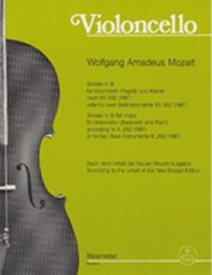 Mozart Wolfgang Amadeus : Sonate B-dur nach KV 292(196 c) für Violoncello (Fagott) und Klavier oder für zwei Baßinstrumente (Celli, Fagotte)