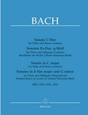 Bach Johann Sebastian : Sonate C-Dur für Flöte und Basso Continuo, Sonaten Es-Dur und g-Moll für Flöte und obligates Cembalo überliefert als Werke J. S. Bachs
