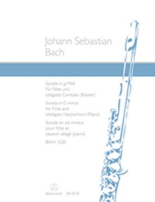 Bach Johann Sebastian : Sonata for Flute and obbligato harpsichord (piano) G minor BWV 1020