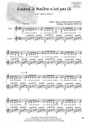 A coeur ouvert (6 pièces pour Chant et guitare)