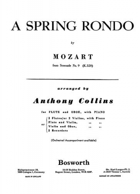 Mozart Wolfgang Amadeus : Mozart A Spring Rondo Arr. A. Collins Flute, Oboe And Piano