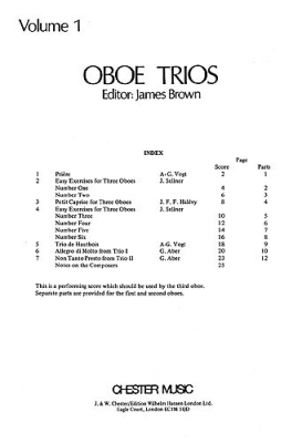 Oboe Trios (Score And Parts)