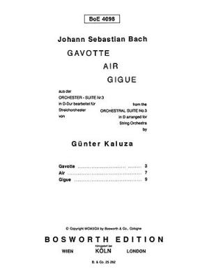 Bach Johann Sebastian : Gavotte, Air And Gigue (Score/Parts)