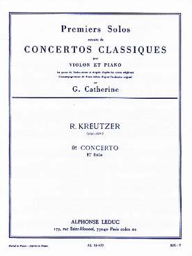 Kreutzer / Catherine : Premiers Solos Concertos Classiques:N009 Violon Et Piano