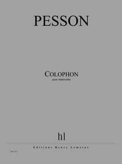 Pesson Gérard : Colophon