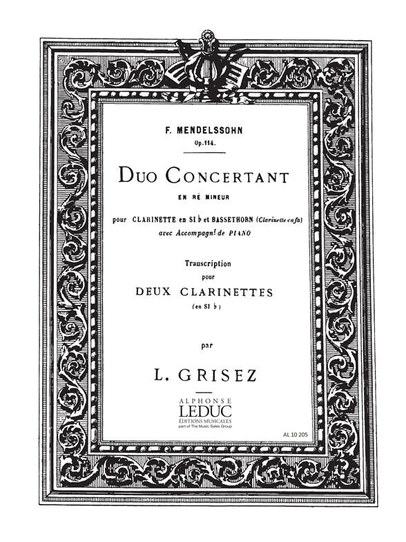 Felix Mendelssohn Bartholdy: Duo Concertant: Clarinet Duet: Score