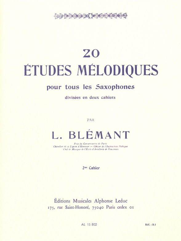 Louis Blemant: 20 Melodic Studies - Volume 2 (Saxophone)