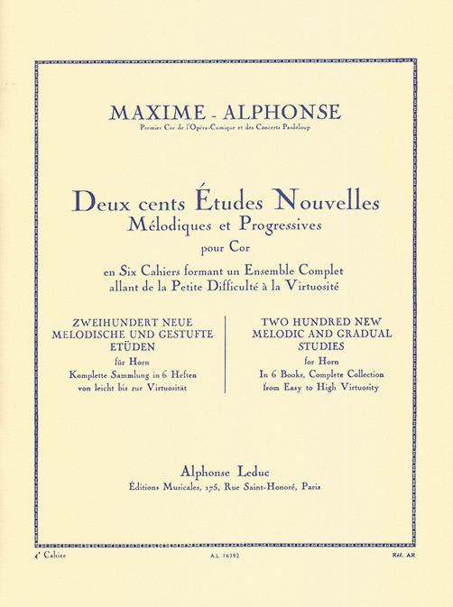 Maxime-Alphonse: 200 Etudes Nouvelles Melodiques et Progressives for Horn Vol.4 - 20 Etudes Difficiles