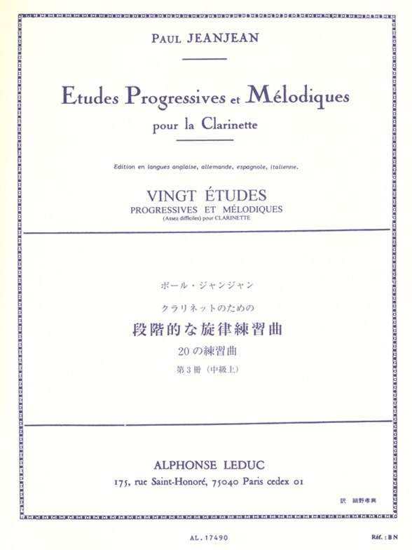 Jean-Jean: 20 Etudes Progressives & Melodiques 3: Clarinet: Study
