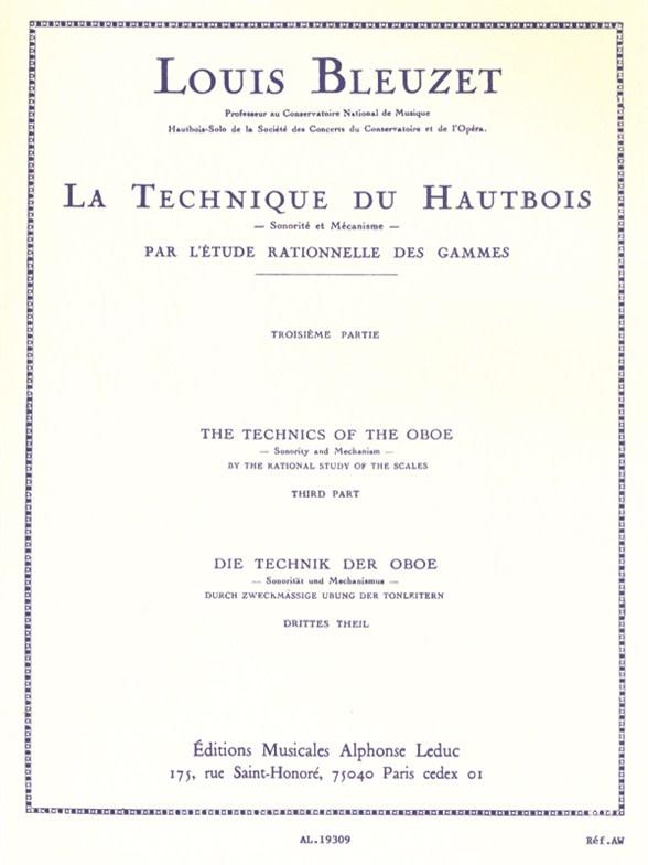 L. Bleuzet: Louis Bleuzet: The Technique Of The Oboe: Oboe: Instrumental Tutor