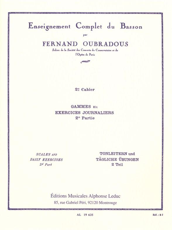 Fernand Oubradous: Enseignement complet Vol.2: Bassoon: Instrumental Tutor