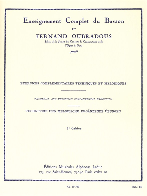 Fernand Oubradous: Enseignement complet Vol.3: Bassoon: Instrumental Tutor