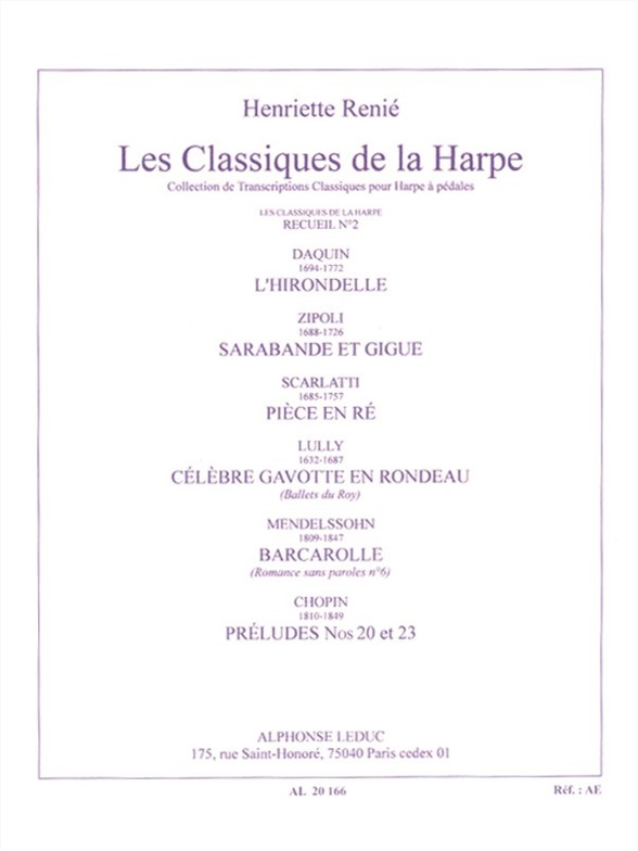 Henriette Renié: Les Classiques de la Harpe No. 2: Harp: Instrumental Album