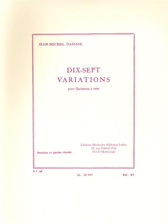Jean-Michel Damase: 17 Variations: Wind Ensemble: Score and Parts