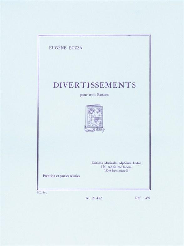 Eugène Bozza: Divertissements For Three Bassoons: Bassoon Ensemble: Score and