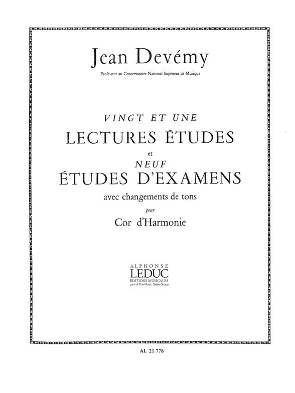Jean Devemy: 21 Lectures-Etudes & 9 Etudes dExamens: French Horn: Score