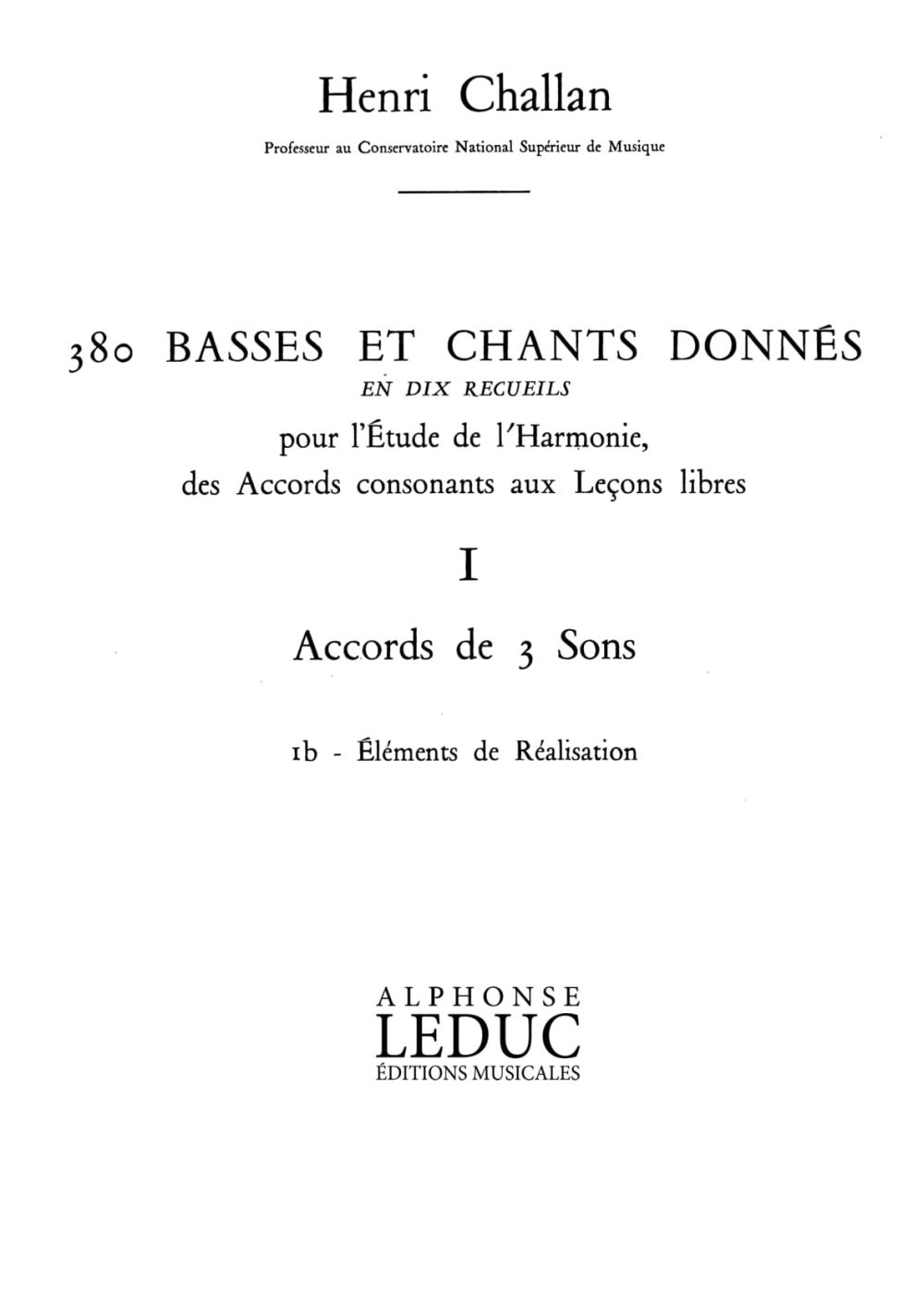 Henri Challan: 380 Basses et Chants Donnés Vol. 1B: Vocal: Artist Songbook