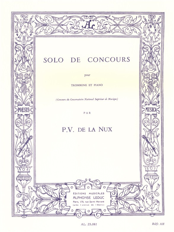 Paul Veronge de la Nux: Solo de Concours: Trombone: Instrumental Work