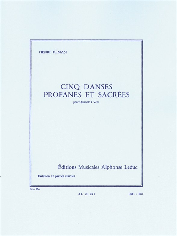 Henri Tomasi: Cinq Danses Profanes et Sacrées: Wind Ensemble: Score and Parts