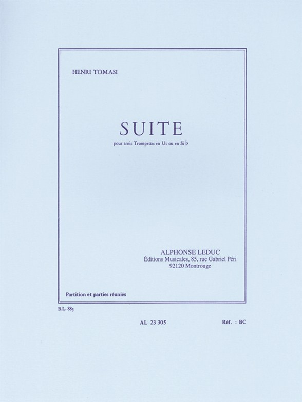 Henri Tomasi: Suite For Three Trumpets: Trumpet: Score and Parts