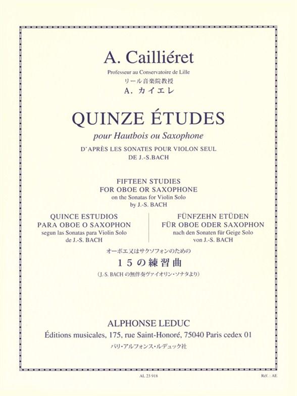 André Cailliéret: 15 Etudes d'apres Les Sonates Pour Violon Seule: Oboe: Study