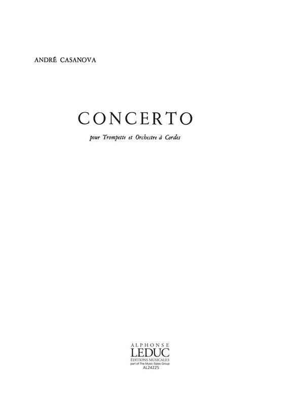 André Casanova: Concerto -Trompette Orchestre A Strings: Trumpet: Score