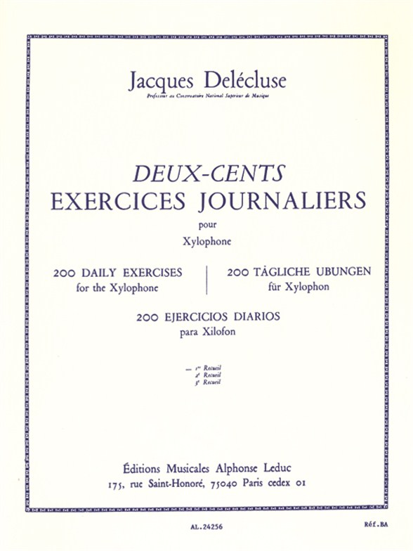 Jacques Delécluse: 200 Exercices Journaliers: Xylophone: Study