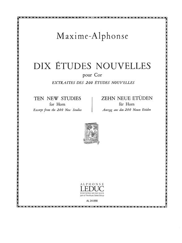 Maxime-Alphonse: Maxime-Alphonse: 10 Etudes nouvelles: French Horn: Score