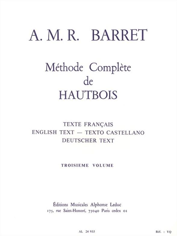 Apollon-Marie-Rose Barret: Méthode Complète de Hautbois (Volume 3): Oboe: