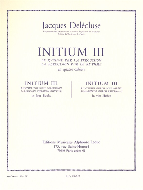 Jacques Delécluse: Initium 3: Percussion: Study