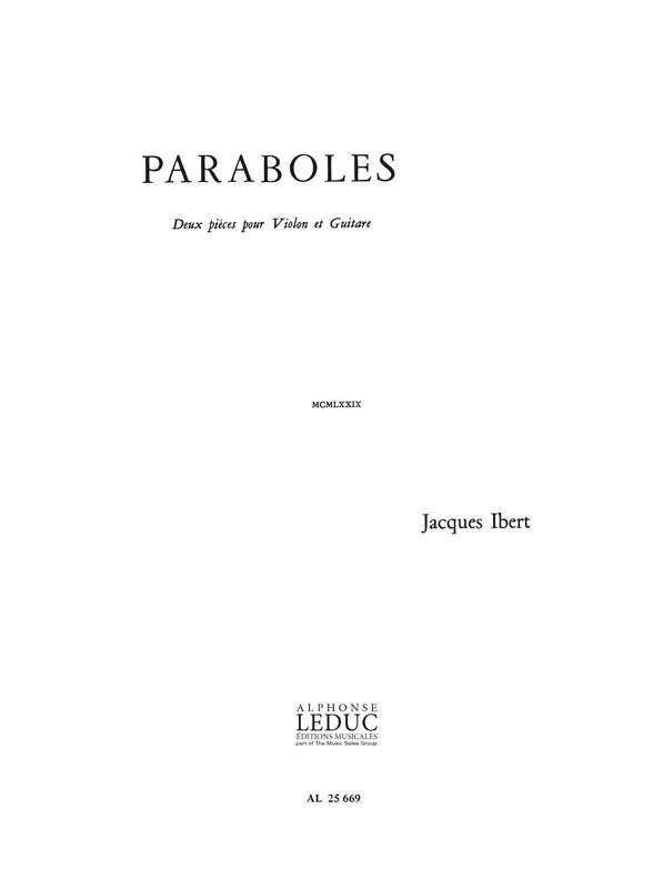 Jacques Ibert: Paraboles: Violin: Instrumental Work