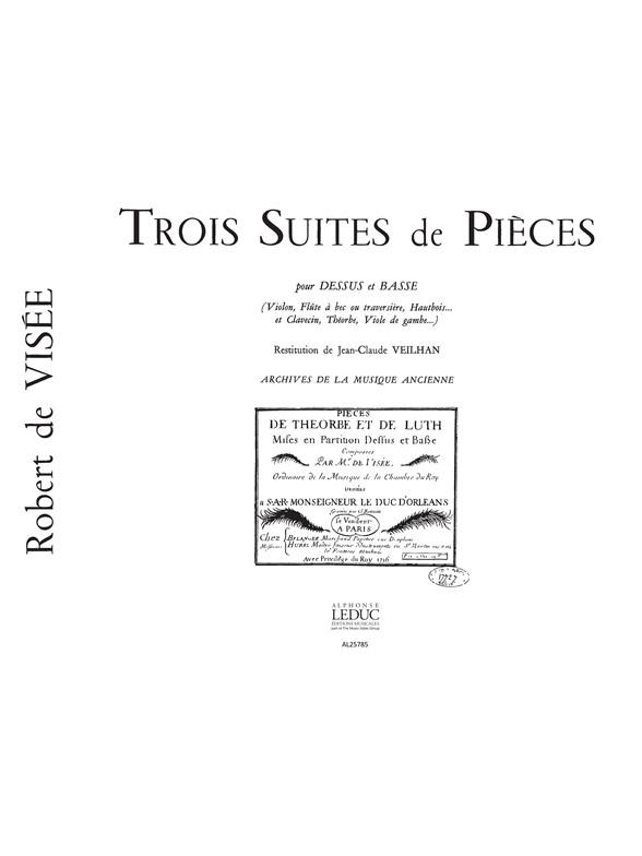 Robert de Visée: Robert de Visee: 3 Suites de Pieces: Flute: Score
