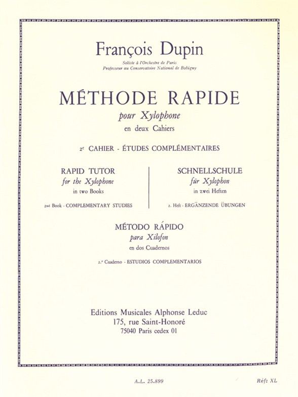 François Dupin: Methode rapide pour Xylophone Vol.2: Xylophone: Instrumental