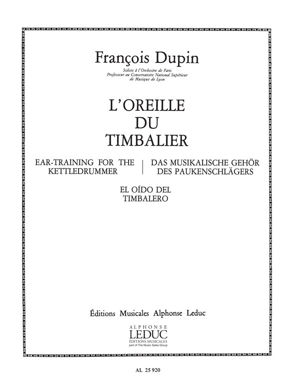 François Dupin: François Dupin: LOreille du Timbalier: Timpani: Score