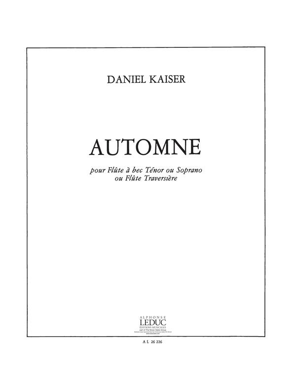 Hermann Josef Kaiser: Automne for Flute or Recorder Solo: Flute: Score