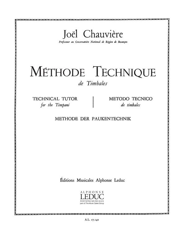 Joel Chauviere: Joel Chauviere: Methode technique de Timbales: Timpani: Score