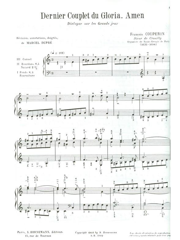 François Couperin: Amen  dernier couplet du Gloria: Organ: Score