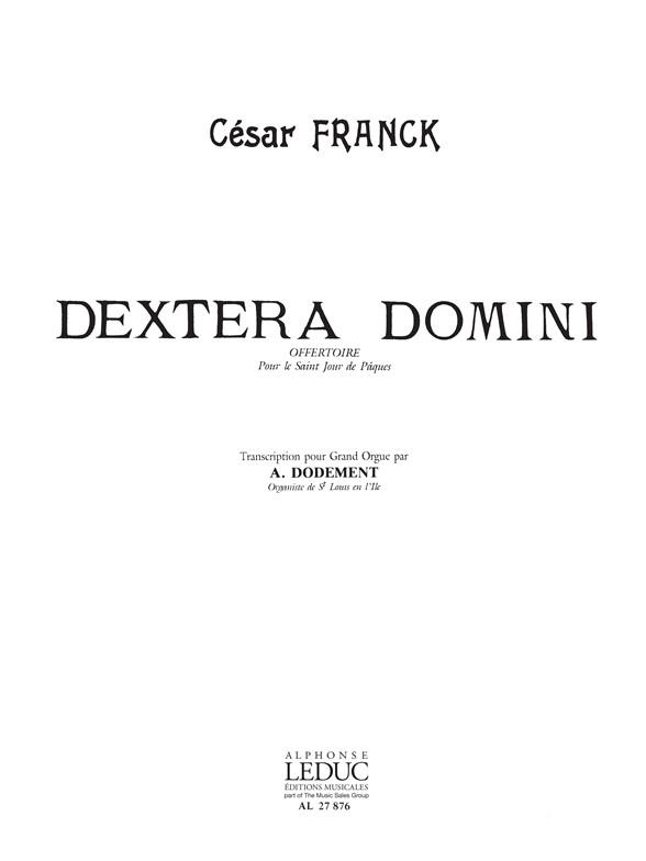 César Franck: Dextera Domini: Organ: Score