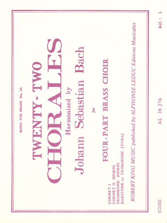 Johann Sebastian Bach: Twenty-Two Chorals: Brass Ensemble: Score