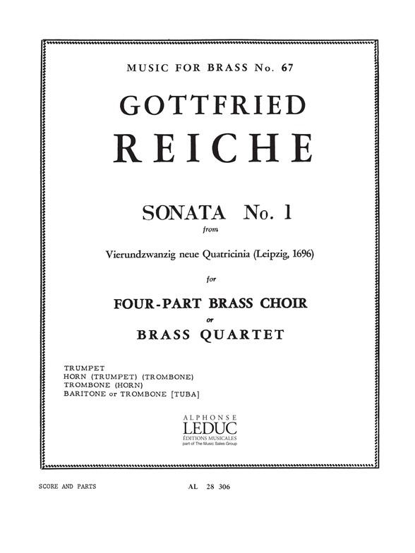 Reiche: Sonata N01: Brass Ensemble: Score and Parts