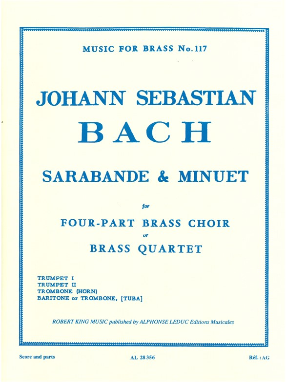 Johann Sebastian Bach: Sarabande And Menuet: Brass Ensemble: Score and Parts