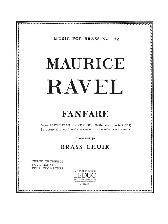Maurice Ravel: Fanfare From 'l'Eventail De Jeanne: Brass Ensemble: Score and