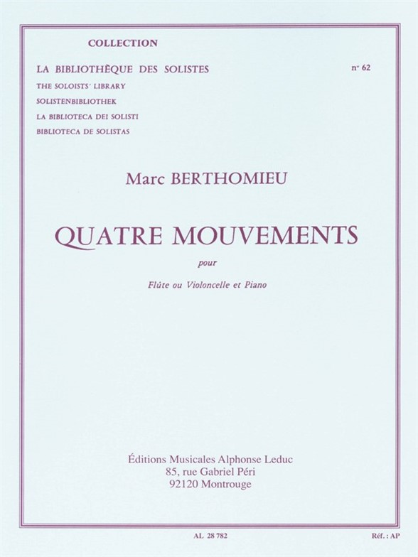 Marc Berthomieu: Marc Berthomieu: Four Mouvements: Piano Trio: Instrumental Work