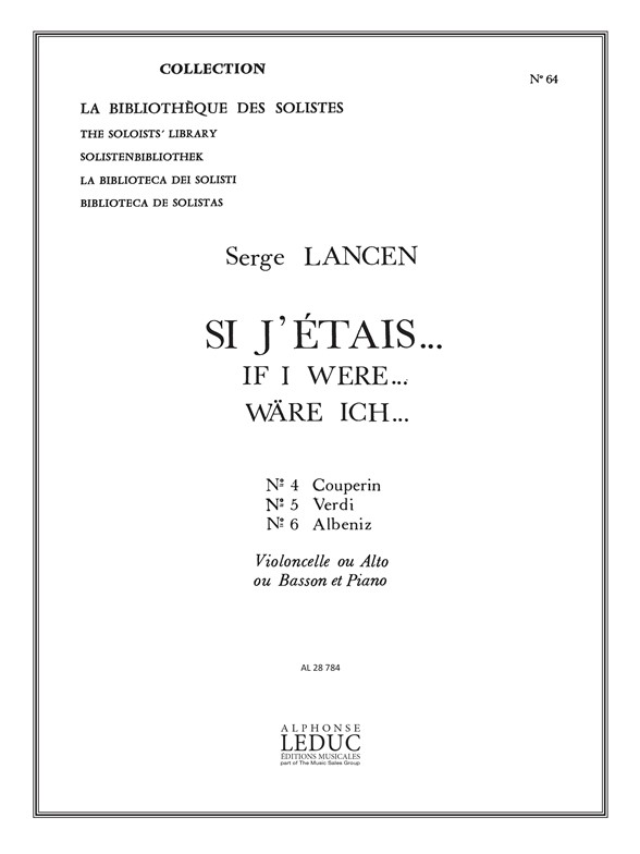 Serge Lancen: If I were... for Cello  Viola or Bassoon and Piano: Chamber