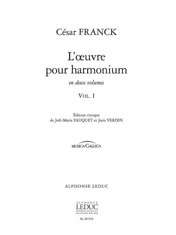 César Franck: L'Oeuvre pour Harmonium Vol.1: Harmonium: Score