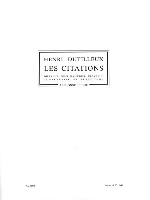 Henri Dutilleux: Henri Dutilleux: Les Citations  Diptyque: Brass Ensemble: Parts