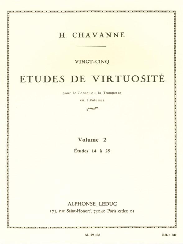 Chavanne 25 tudes de Virtuosite Volume 2 14 a 25 Trumpet Or Cornet Bk Trompette