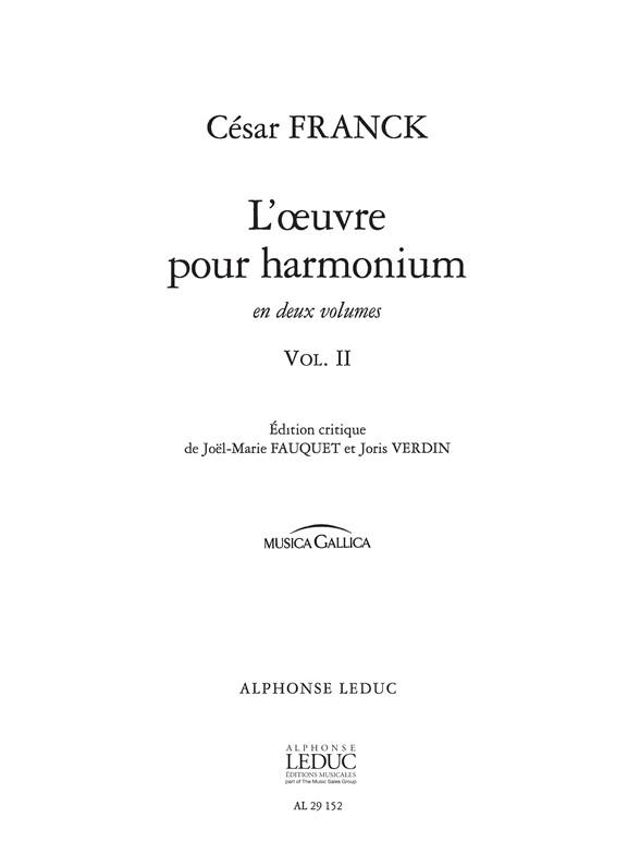 César Franck: L'Oeuvre pour Harmonium Vol.2: Harmonium: Score