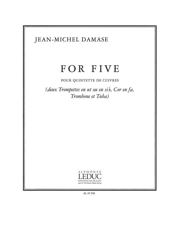 Jean-Michel Damase: For Five: Brass Ensemble: Score and Parts